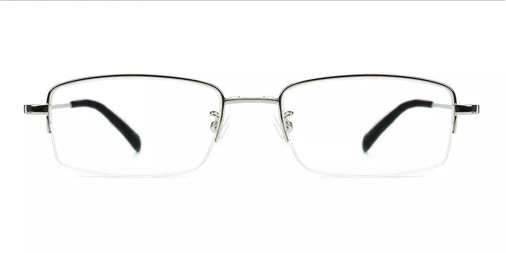 Rochester Clip On Prescription Sunglasses - Memory Titanium - Silver